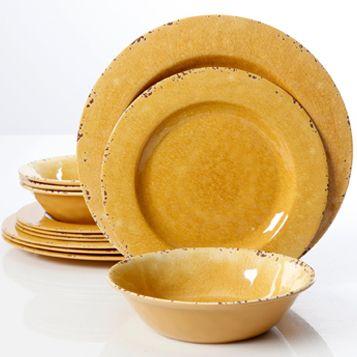 Studio California Mauna Crackle 12 Piece Melamine Dinnerware Set, Yellow #affiliate