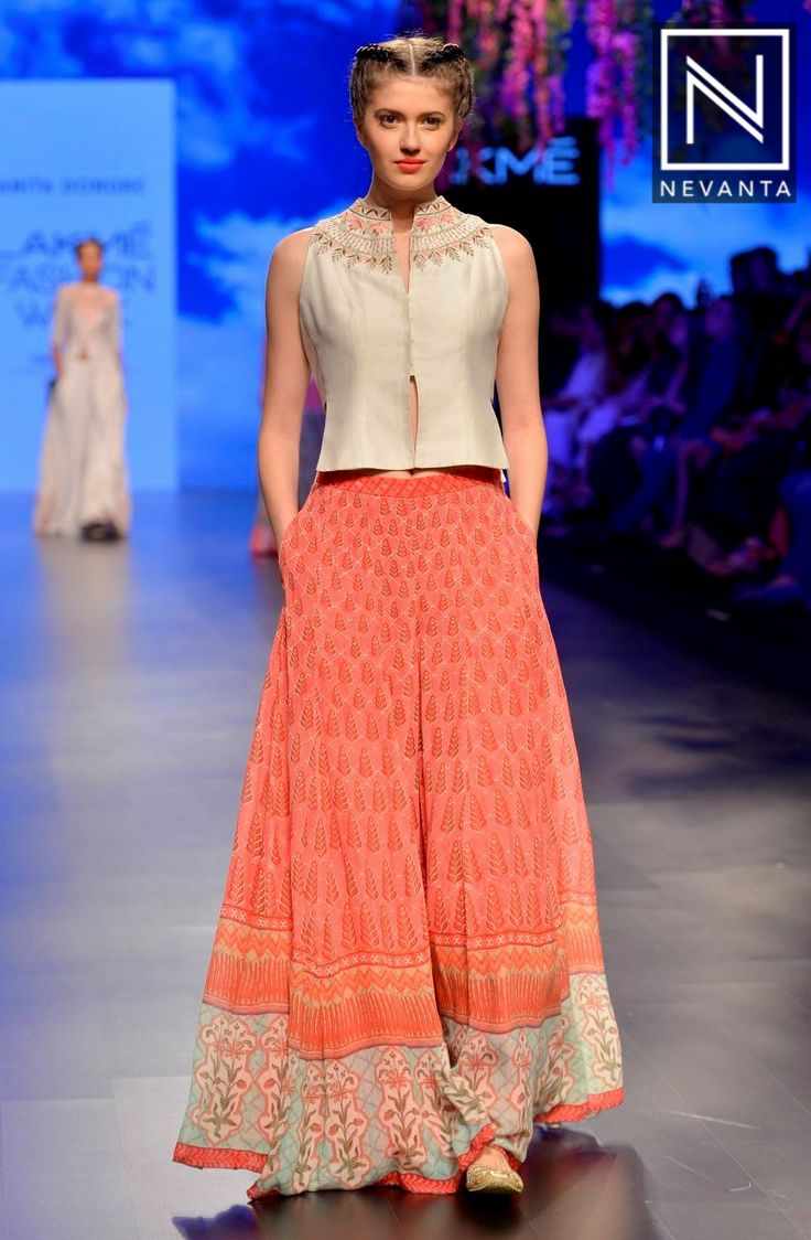 A pretty printed #lehenga and crop-top by #AnitaDongre