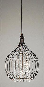 Indoor 3-Light Copper/Crystal Pendant Chandelier - contemporary - chandeliers - Overstock