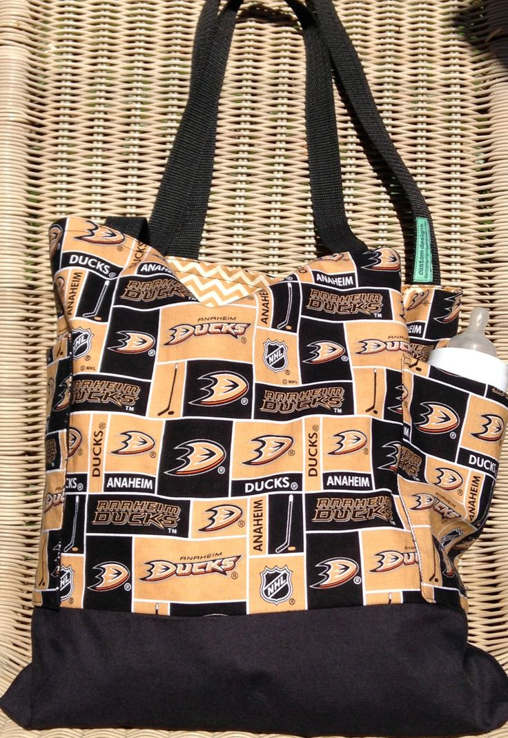 Anaheim Ducks Diaper Bag Custom Tote Bag Purse Ice Hockey, Shopping Bag, Lined, Web Straps, NHL, Hockey Games, Sports by designsbyfancyrose on Etsy