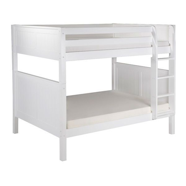 Modern Full over Full Bunk Bed in White Wood Finish