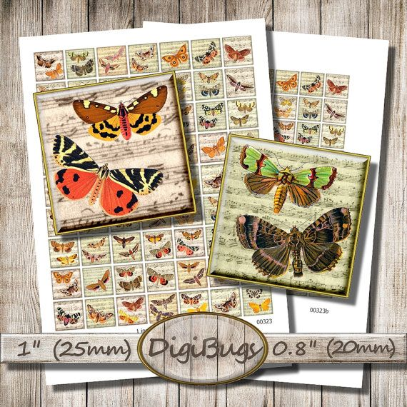 Printable Butterflies Moths on Music Paper Background, Digital Collage Sheet, 1 inch Squares, 20 mm, 25 mm Images, Instant Download, a5