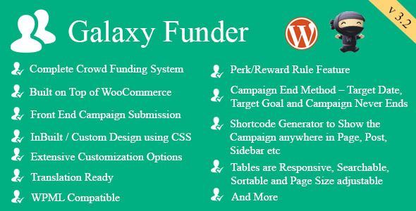 Galaxy Funder is a Crowdfunding System built on top of WooCommerce and is rich in features. Using Galaxy Funder you can run your own Crowdfunding site or add the Campaigns for Crowdfunding on top of your existing WooCommerce Shop.