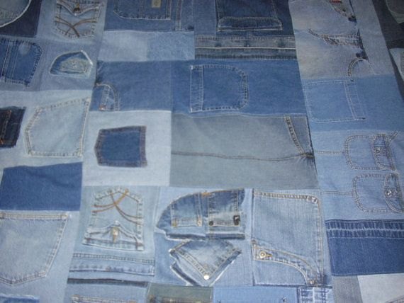 Recycled Blue Jean Pocket Quilt By Jeanoligy On Etsy 225