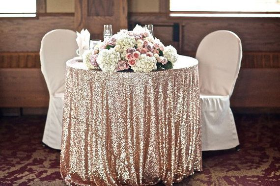 """Champagne Sequin Tablecloth 90"""" round for vintage Weddings and Events! Custom sparkle sequin table cloths, tablecloths, runners and linens on Etsy, $93.19"""