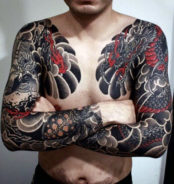 Red And Black Ink Guys Dragon Japanese Chest Tattoos Japanese Tattoo Sleeve Tattoos Tattoos For Guys