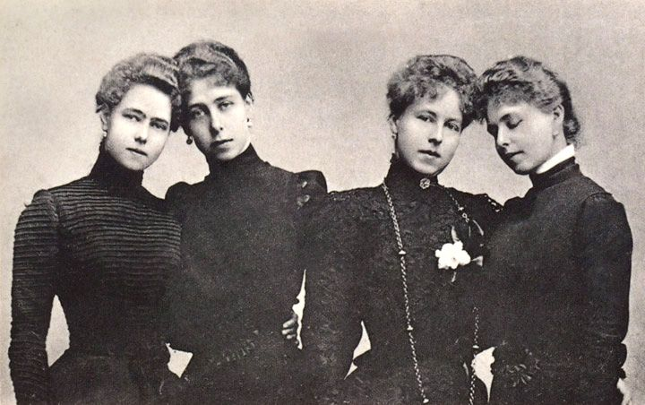 The four daughters of Alfred Duke of Edinburgh (later duke of Saxe-Coburg & Gotha) and Grand Duchess Maria Alexandrovna of Russia:  From left to right, Princess Beatrice, Princess Victoria Melita, Princess Alexandra, and Princess Marie (later Queen of Romania).