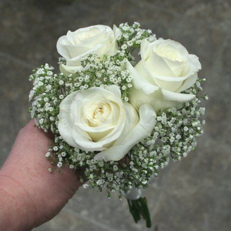 wedding bouquet with roses and baby's breath | Flowers product: White Roses and Baby Breath Bouquet