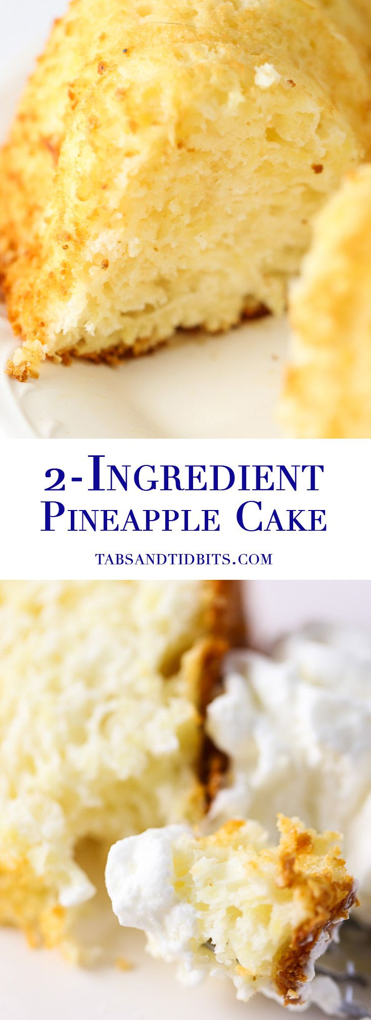 Two Ingredient Pineapple Cake - Just two ingredients create this simple, light, and sweet dessert! (Pineapple Dessert Recipes)