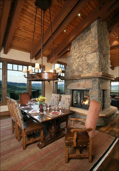 Home On The Range Interiors Western Style Dining Room Love Fireplace In Middle