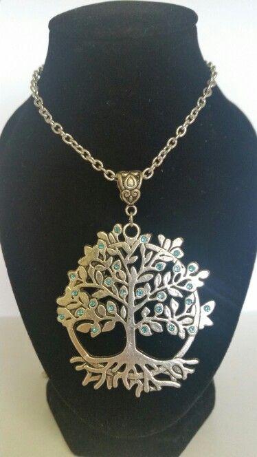 Tree of life pendant necklace. Sky blue rhinestones. AUS $ 14.00