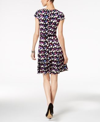 Jessica Howard Petite Belted Geo-Print Dress - Purple 14P