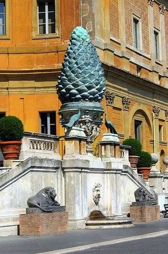 Fontana della Pigna. A former Roman fountain which now decorates a vast niche in the wall of Cortile della Pigna, a courtyard of the Vatican Museums, it is composed of a large bronze pinecone almost four meters high which once spouted water from the top. The Pigna originally stood in the Pigna Quarter of Rome, near the Pantheon next to the Temple of Isis. It was moved to the courtyard of the old St. Peter's Basilica during the Middle Ages and then moved again, in 1608, to its present…