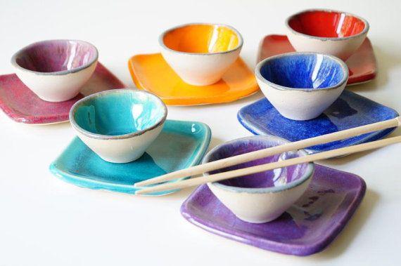 Sushi Serving Set, Sushi Dish, Set for Six, Ceramic Sushi Set, Ceramic…