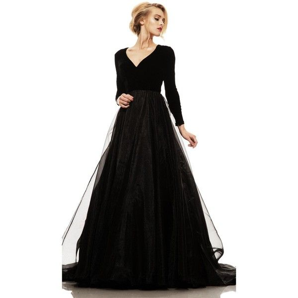 Johnathan Kayne 5010 Ball Gown Long V-Neck Long Sleeve (3.770 HRK) ❤ liked on Polyvore featuring dresses, gowns, black, formal dresses, formal gowns, long-sleeve maxi dress, long sleeve dress, mother of the bride gowns and mother of the bride evening dresses