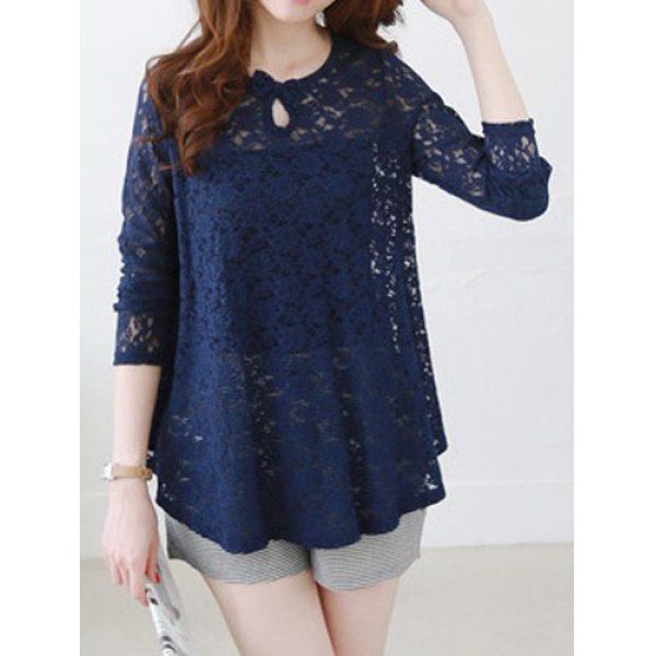 Bowknot Decorated Jacquard Sweet Round Collar Long Sleeve Women's Lace Blouse