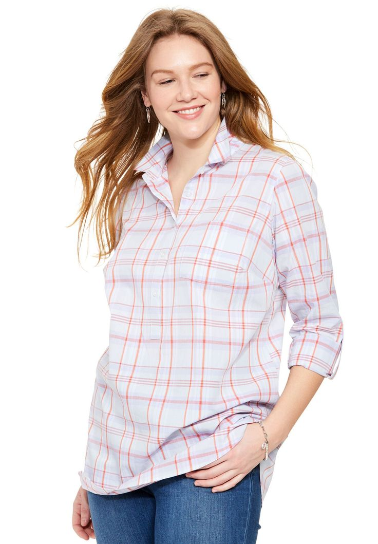 "&""Perfect&"" cotton popover shirt - Women's Plus Size Clothing"