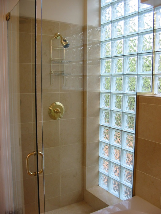 Glass Block Shower Wall For The Home Pinterest