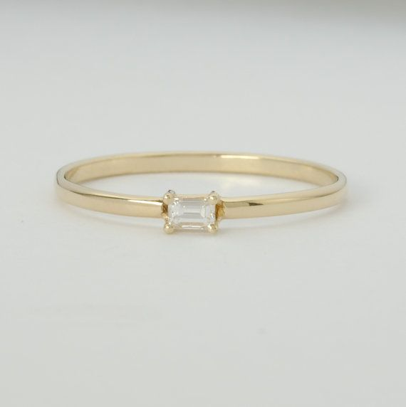 Diamond Baguette Engagement Ring .10 Carat Diamond with Yellow Gold Conflict Free