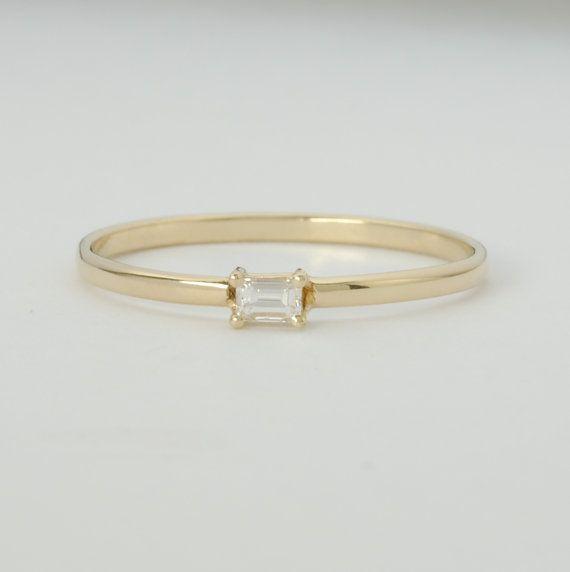 Diamant Baguette Verlobungsring.10-Karat-Diamant mit von bellaflor