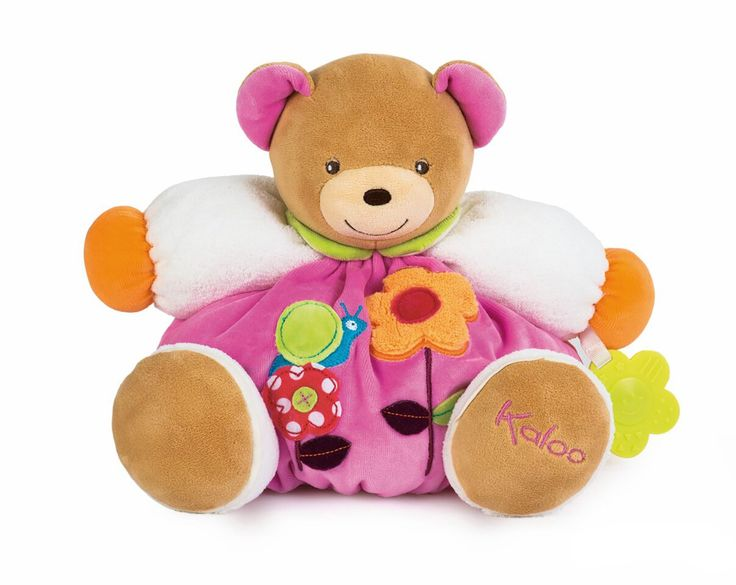 Kaloo Colors Bear Flower with Teething Ring Toy, Large. Colors Collection by Kaloo is a range where flowers are blooming, birds are singing, and nature blossoms!. Colorful, educational, super soft. Colors offers happiness with its fresh and shining colors. Kaloo has a very particular approach to a baby's specific needs in terms of affectivity, stimulation and safety, which are inherent in all the Kaloo creations. Added value to most Kaloo items - Beautiful gift boxes and soft tags, the…
