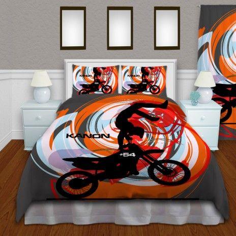 Boys Dirt Bike Orange Bedding Motocross kids Extreme Duvet Cover #135…