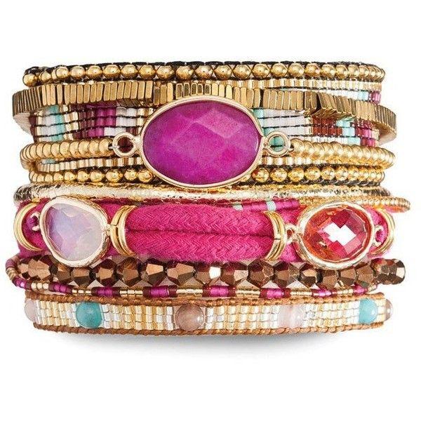 Hipanema Cerise Bracelet ($100) ❤ liked on Polyvore featuring jewelry, bracelets, gold tone jewelry, pink bangles, beading jewelry, bead jewellery and pink jewelry