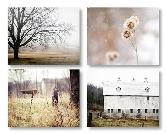 Set of four farmhouse decor country landscape prints. Ive taken four of my rustic farmhouse photographs and created this set. These are four unmatted and unframed photos. These beautiful tones of gold, white and brown could lend themselves to so many color schemes in the home.  Order
