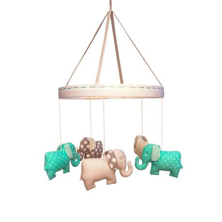 Mint Grey Baby Elephant Mobile