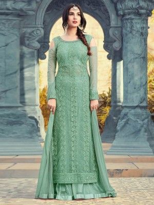 1ff48b31d5 Pista Green With Chikankari Embroidered Designer Flared Gharara Palazzo Suit  Set