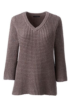 Women's Lofty Cotton Textured V-neck Jumper