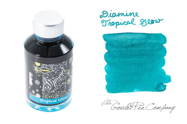 Diamine Tropical Glow -- really pretty turquoise ink with silver shimmer!