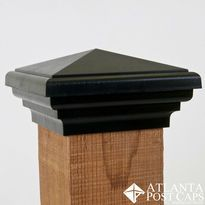 4x4 Black Pyramid Estate Series Deck and Fence Post Caps - 10 Year Warranty - Made in America