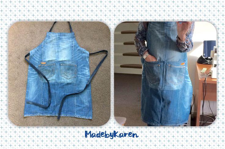 Leuke keukenschort gemaakt van een paar oude jeans. Denim jeans spijkerstof