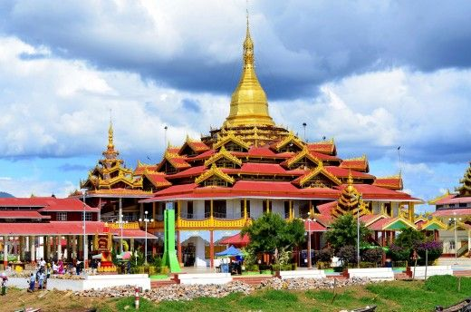 Burmese architecture building or palace near the Inle Lake in Myanmar.