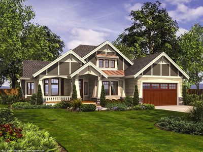 <ul><li>A unique exterior with multiple gables and a covered entry and porch greet you to this unique Craftsman house plan. It is available in both 2 and 3 car versions.</li><li>The foyer gives you two angled options - left to the common living areas and right to the private bedrooms.</li><li>French doors lead to your dining room or den and a bumpout gives you three sets of windows to enjoy the views.</li><li>The great room is vau...