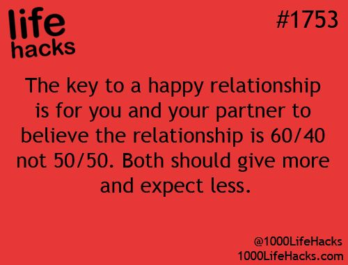 "Key to a happy relationship I feel this is a good Life Hack to incorporate. Although, I believe it *really* should be 110%/110%! : ) This way, each of you can ensure that you've given your relationship your all--investing in *contribution to* the creation of an OUTSTANDING relationship!! And, in the end (of whatever, however), neither of you will have regrets; b/c, you'll never need to wonder ""What if...???,"" due to dealing with the ""If I could've, would've... factor."" ~Allie : }"