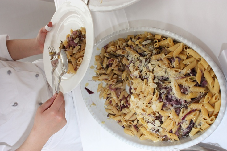 Pasta Penne with onions, almonds, anchovies and eggplant #pasta #food #Italy #party