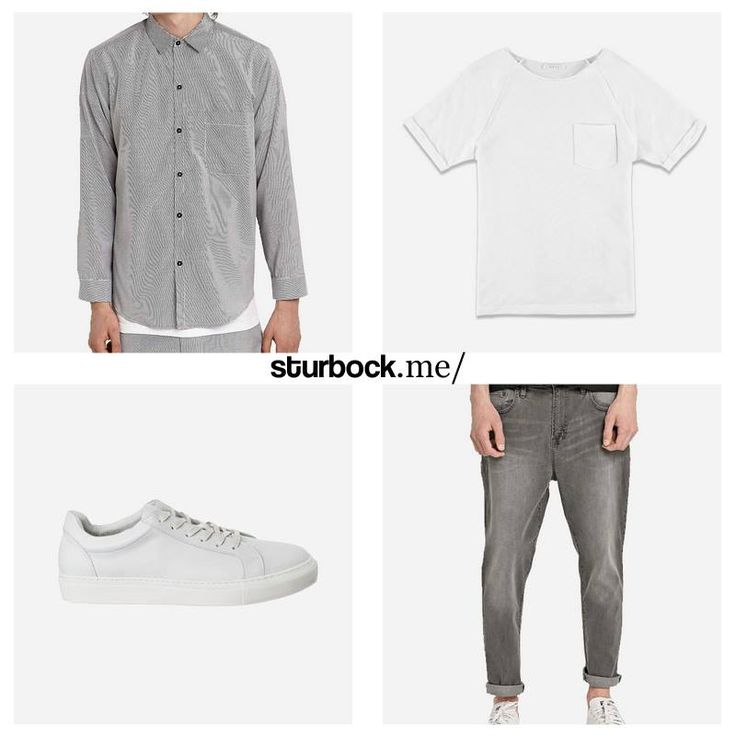 Vintage Hemd mit Streifen, Frottee T-Shirt, Sneaker aus Glattleder im Used-Look und Karottenjeans in Elefantengrau. Hier entdecken und shoppen: http://sturbock.me/ua8