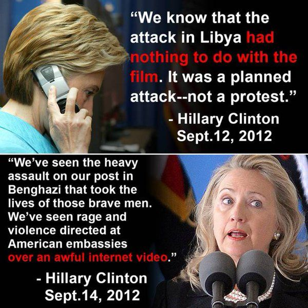Knowingly lied to the families of the Benghazi victims and the American public