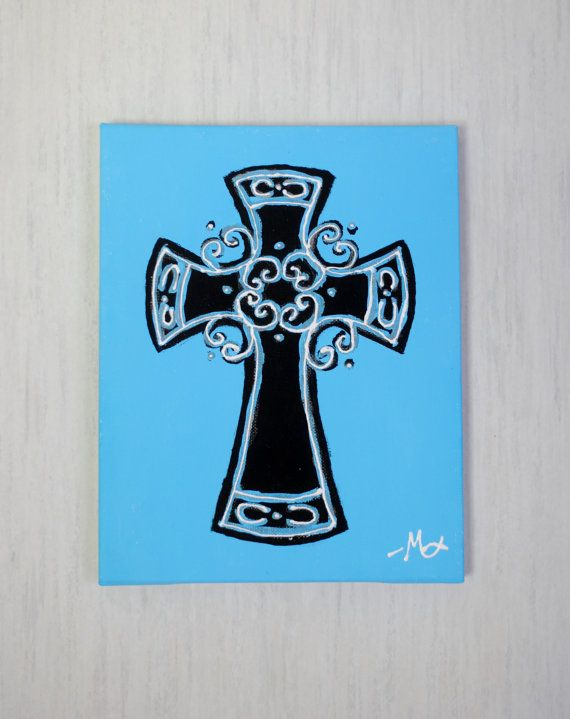 Painted Cross Canvas Art by SquashAndGreenPeas on Etsy.