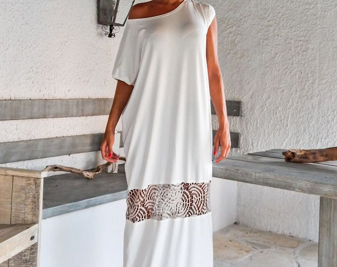 Kaftan Maxi abito avorio con dettagli in pizzo maglia / asimmetrico aperto indietro abito Oversize sciolto abito / #35086