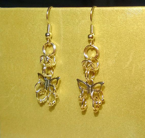 #Gold #Butterfly #Charm #Earrings by @AnnasCJHM on #Etsy #handmade #graduation #birthday #wedding #gift #forher #costumejewelry