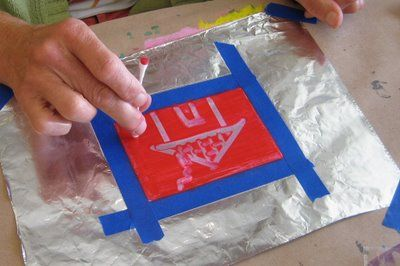 Monoprints with a q-tip and tempera paint on foil