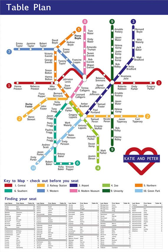 Etsy RedLineCS Underground Map Seating Chart || Five for Friday: Awesome Seating Displays You Don't Have to DIY