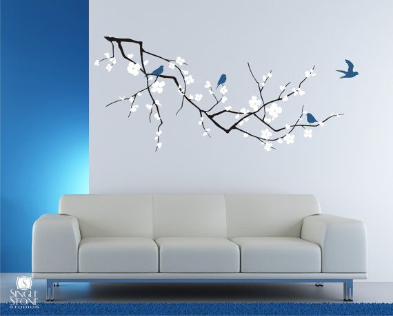 Wall Decals Cherry Blossom with Birds - 3 Colors (Medium) - Vinyl Wall Art.  The branch is 60x23 but can be custom-sized to fit your space.