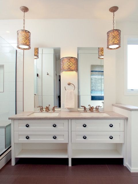 bathroom design interior with twin frameless wall mirror above vanity and bathroom medicine cabinets