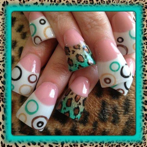 Teal leopard and circles by Oli123 - Nail Art Gallery nailartgallery.nailsmag.com by Nails Magazine www.nailsmag.com #nailart