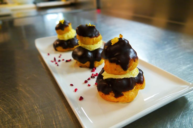 #Chocolate #Religieuses by Pastry Chef Aleksandrs Taukulis, in the kitchen of Grange Tower Bridge Hotel, #London
