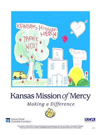 In 2008, children attending the Kansas Mission of Mercy project drew photos while waiting for treatment.  We gathered that artwork and created this poster.